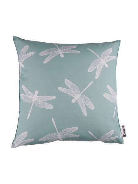 Cuscino da esterno con motivo libellule Dragonfly, 100% poliestere, Blu, bianco, Larg. 47 x Lung. 47 cm