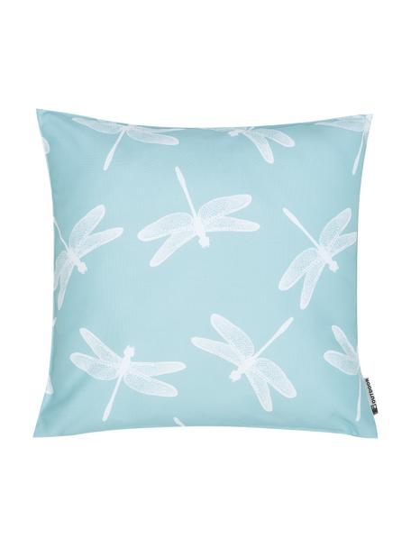 Poduszka zewnętrzna Dragonfly, 100% poliester, Niebieski, biały, S 47 x D 47 cm
