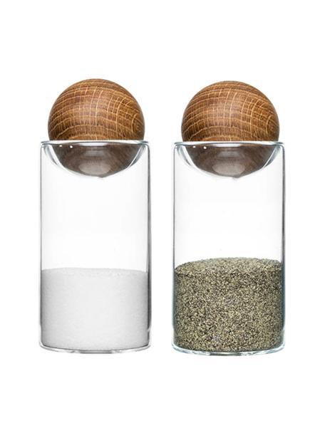 Salero y pimentero de vidrio soplado Eden, 2uds., Transparente, roble, Ø 5 x Al 12 cm