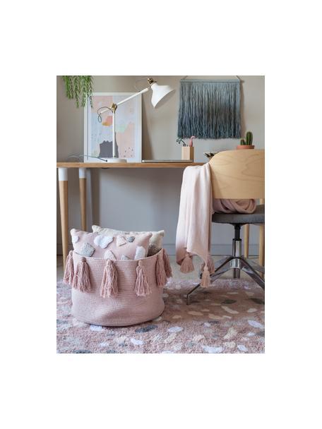 Cesto con nappe Tassels, 97% cotone, 3% cotone riciclato, Rosa, Ø 45 x Alt. 30 cm