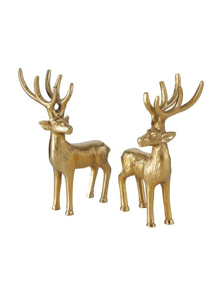 Deko-Hirsche Mendel H 15 cm, 2 Stück, Aluminium, beschichtet, Goldfarben, 8 x 15 cm