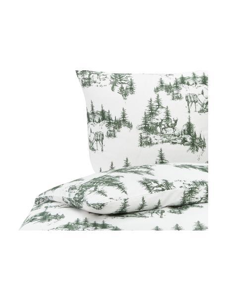 Pościel z flaneli Nordic, Zielony, biały, 135 x 200 cm + 1 poduszka 80 x 80 cm
