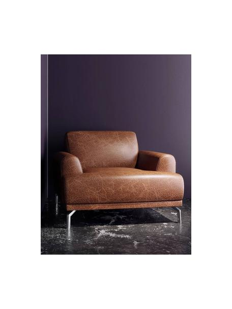 Fotel ze skóry Puzo, Tapicerka: 100% skóra, Nogi: metal, Koniakowy, S 95 x G 84 cm