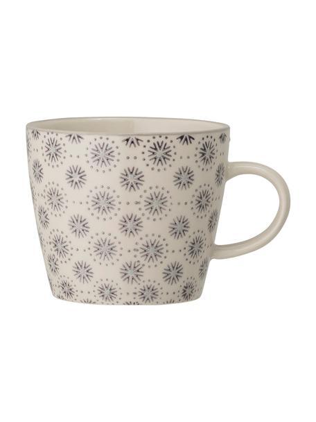 Tazza in gres con motivo floreale Elsa 4 pz, Gres, Grigio, color crema, Ø 10 x Alt. 8 cm