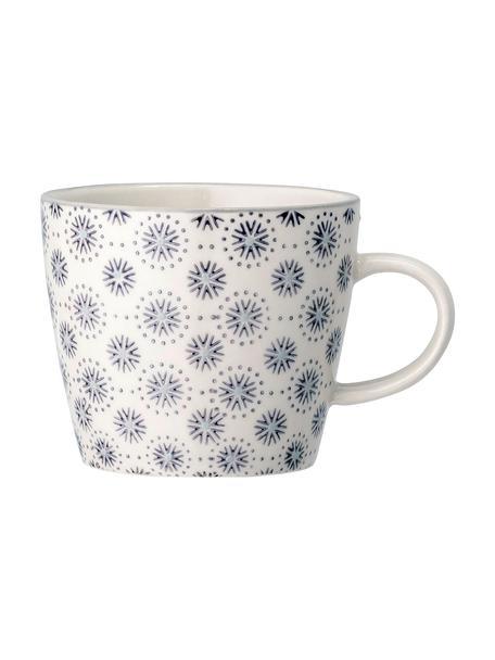 Steingut-Tassen Elsa mit Blumenmuster, 4 Stück, Steingut, Grau, Cremefarben, Ø 10 x H 8 cm