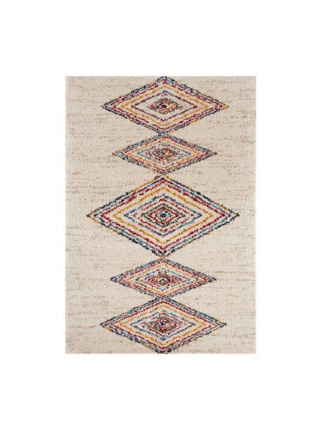 Pluizig hoogpolig vloerkleed Andara met kleurrijk ethno patroon, Bovenzijde: 100% polypropyleen, Onderzijde: jute, Beige, multicolour, B 80 x L 150 cm (maat XS)