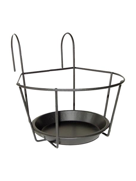 Soporte para maceta de balcón Alyssa, Metal, Negro, An 17 x Al 18 cm