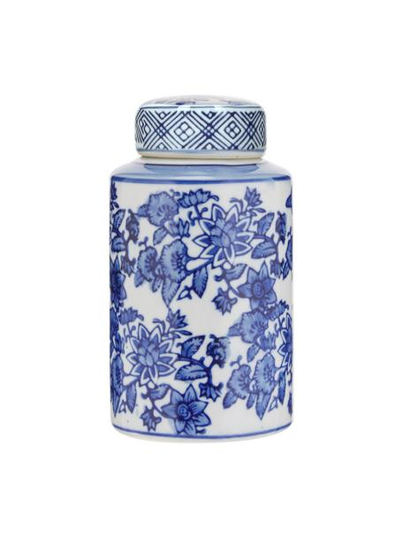 Kleine Deckelvase Annabelle aus Porzellan, Porzellan, Blau,Weiß, Ø 8 x H 14 cm