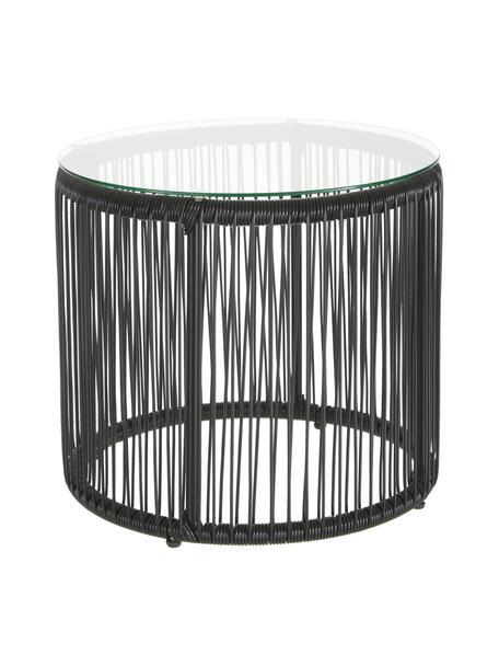 Stolik pomocniczy ze szklanym blatem Bahia, Blat: szkło, grubość, Stelaż: aluminium, malowane prosz, Blat: transparentny Boki i rama: czarny, Ø 50 x W 45 cm