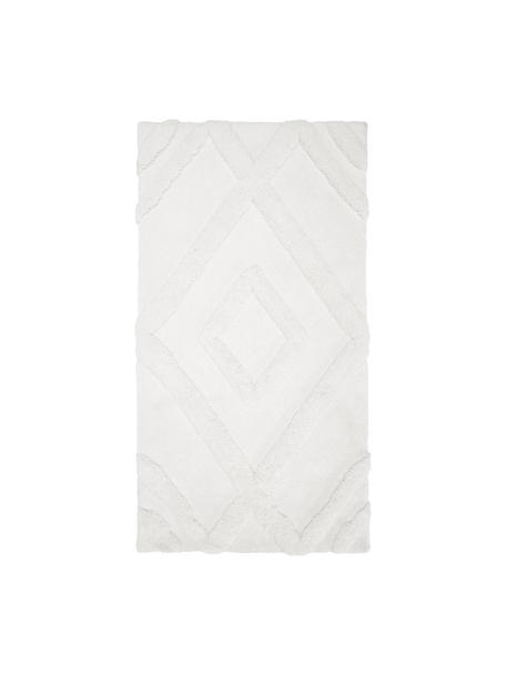 Fluffy boho hoogpolig vloerkleed Magda met verhoogd hoog-laag patroon, Bovenzijde: 100% polyester (microveze, Onderzijde: 55% polyester, 45% katoen, Beige, B 80 x L 150 cm (maat XS)