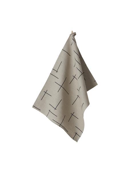 Strofinaccio in lino con motivo boho Merrin 2 pz, 100% lino, Beige, nero, Larg. 50 x Lung. 70 cm