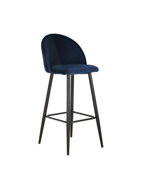 Krzesło barowe z aksamitu Amy, Tapicerka: aksamit (poliester) 2000, Nogi: metal malowany proszkowo, Aksamitny ciemny niebieski, S 45 x W 103 cm