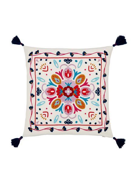 Bunt bestickte Kissenhülle Flower Power, 100% Baumwolle, Cremeweiß, Mehrfarbig, 45 x 45 cm