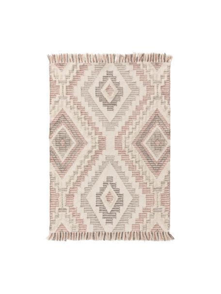 Dywan z wełny z wypukłym wzorem Wanda, 70% wełna, 30% akryl  Włókna dywanów wełnianych mogą nieznacznie rozluźniać się w pierwszych tygodniach użytkowania, co ustępuje po pewnym czasie, Blady różowy, szary, kremowy, S 80 x D 120 cm (Rozmiar XS)