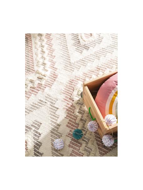 Boho wollen vloerkleed Wanda met hoog-laag structuur en franjes, 70% wol, 30% polyester Bij wollen vloerkleden kunnen vezels loskomen in de eerste weken van gebruik, dit neemt af door dagelijks gebruik en pluizen wordt verminderd., Roze, grijs, crèmekleurig, B 80 x L 120 cm (maat XS)