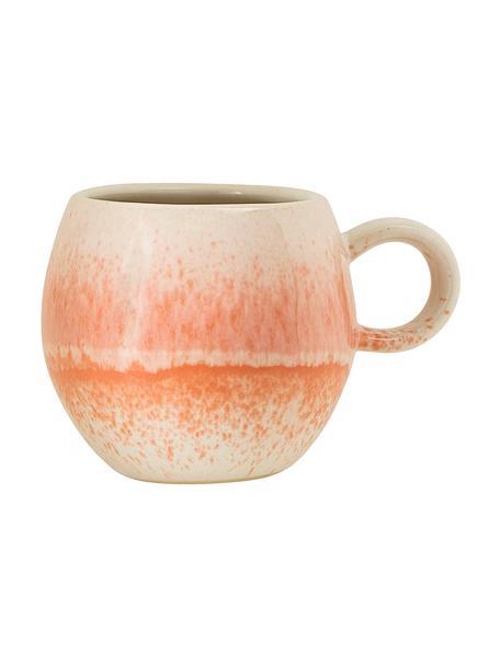 Taza de café artesanal Paula, Gres, Naranja, crema, Ø 9 x Al 8 cm