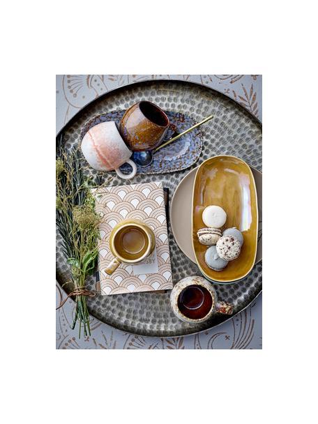 Tazza fatta a mano con smalto Paula, Terracotta, Arancione, crema, Ø 9 x Alt. 8 cm