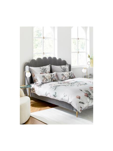 Łóżko tapicerowane z aksamitu Glamour, Korpus: lite drewno sosnowe, Nogi: metal mosiądzowany, Tapicerka: aksamit (poliester) 100 0, Tapicerka: szary Nogi: odcienie złotego, błyszczący, S 160 x D 200 cm
