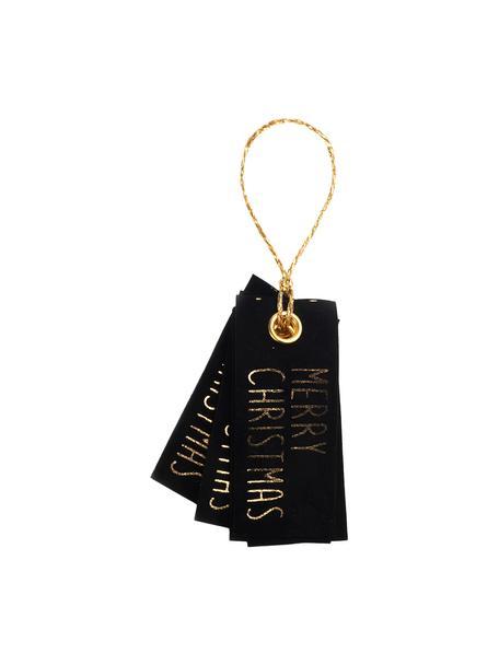 Geschenkanhänger Vellu, 6 Stück, 50% Polyester, 40% Rayon, 10% Haftmittel, Schwarz, Goldfarben, 3 x 7 cm