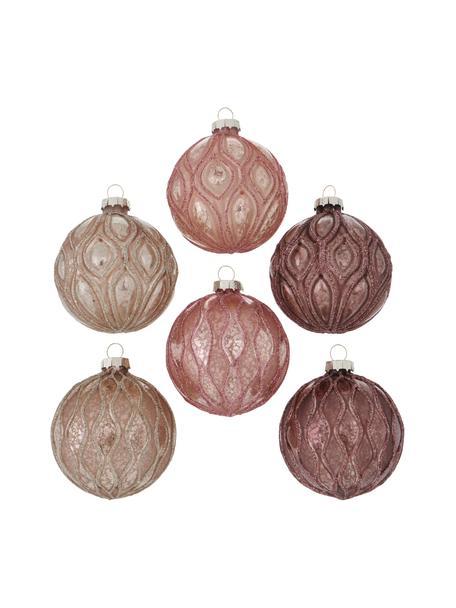 Weihnachtskugel-Set Malena Ø 8 cm, 6-tlg., Rosatöne, Ø 8 cm
