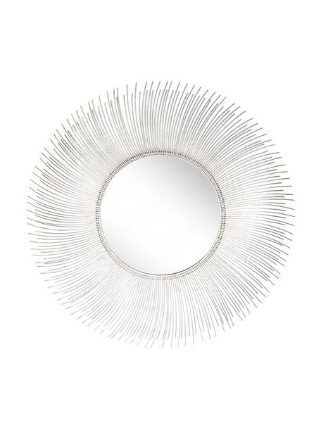 Okrągłe lustro ścienne z metalową ścianą Lilly, Odcienie srebrnego, Ø 90 x G 2 cm