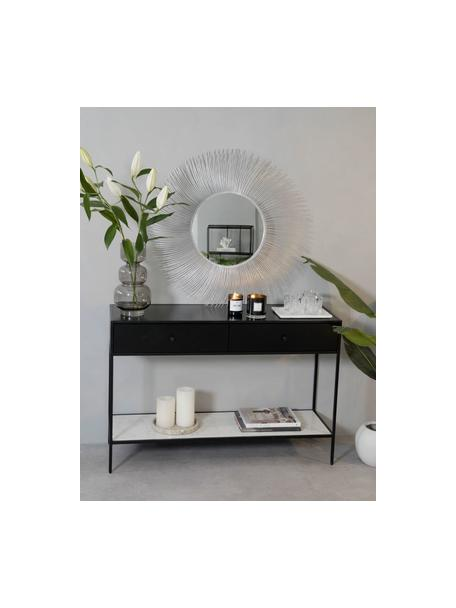 Runder Wandspiegel Lilly mit Silberrahmen, Rahmen: Metall, Spiegelfläche: Spiegelglas, Silberfarben, Ø 90 cm