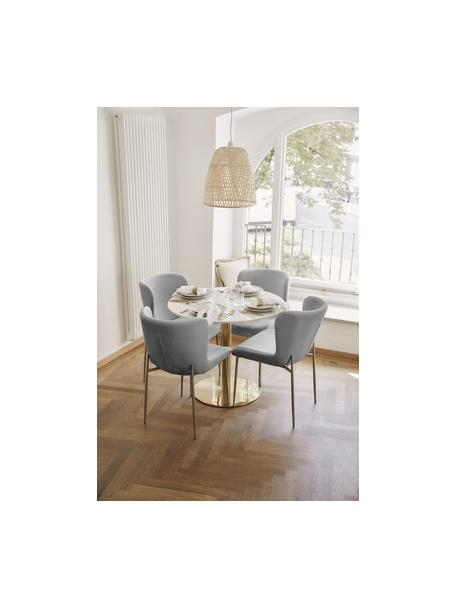 Fluwelen stoel Tess in grijs, Bekleding: fluweel (polyester), Poten: gepoedercoat metaal, Fluweel grijs, poten goudkleurig, B 49 x D 64 cm