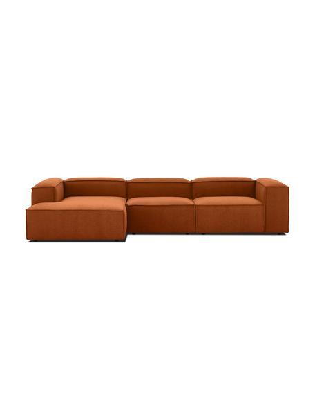Narożna sofa modułowa Lennon, Tapicerka: 100% poliester Dzięki tka, Stelaż: lite drewno sosnowe, skle, Nogi: tworzywo sztuczne Nogi zn, Terakota, S 327 x G 180 cm