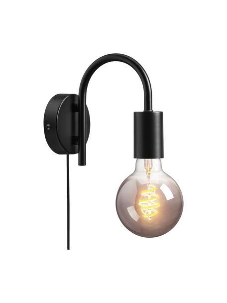 Aplique Paccio, con enchufe, Pantalla: metal recubierto, Cable: plástico, Negro, An 9 x Al 16 cm