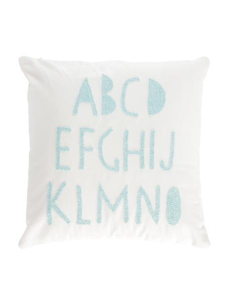 Federa arredo in cotone biologico in bianco/blu Keila, Cotone, Bianco, blu, Larg. 45 x Lung. 45 cm