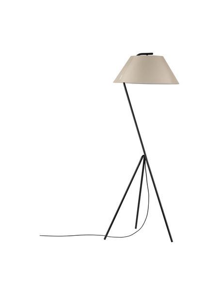 Lampada da terra treppiede dimmerabile Narve, Paralume: tessuto, Base della lampada: metallo rivestito, Beige, nero, Larg. 53 x Alt. 154 cm