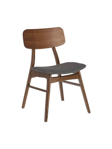 Houten stoelen Selia, 2 stuks, Frame: massief rubberhout, walno, Bekleding: polyester, Donkergrijs, donkerbruin, B 48 x D 53 cm