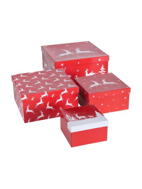 Komplet pudełek prezentowych Helli, 4 elem., Papier, Czerwony, biały, Komplet z różnymi rozmiarami
