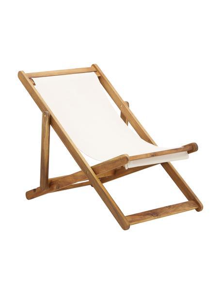 Tumbona plegable Zoe, Asiento: 100%poliéster, Estructura: madera de acacia aceitada, Blanco, An 59 x F 91 cm