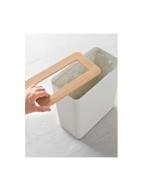 Papierkorb Rin aus lackiertem Stahl, Deckel: Holz, Weiss, Dunkelbraun, 28 x 30 cm