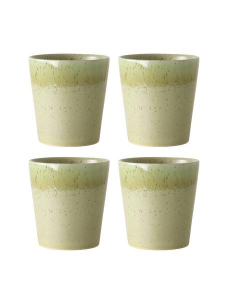 Tazza senza manico fatta a mano in stile retrò 70's 4 pz, Gres, Verde pistacchio, Ø 8 x Alt. 8 cm