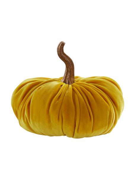 Zucca decorativa in velluto Pumpis, 15% poliresina, 35% acrilico, 25% poliestere, 25% riempimento con sabbia di quarzo, Giallo, Ø 16 x Alt. 15 cm