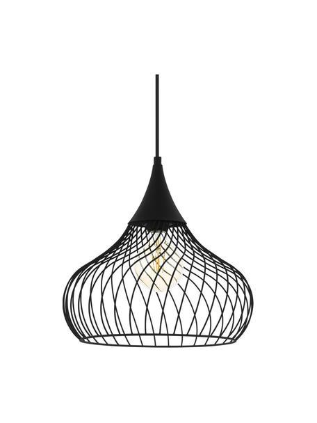 Hanglamp Staverton van gedraaid metaal, Lampenkap: gelakt metaal, Baldakijn: gelakt metaal, Zwart, Ø 37  x H 35 cm