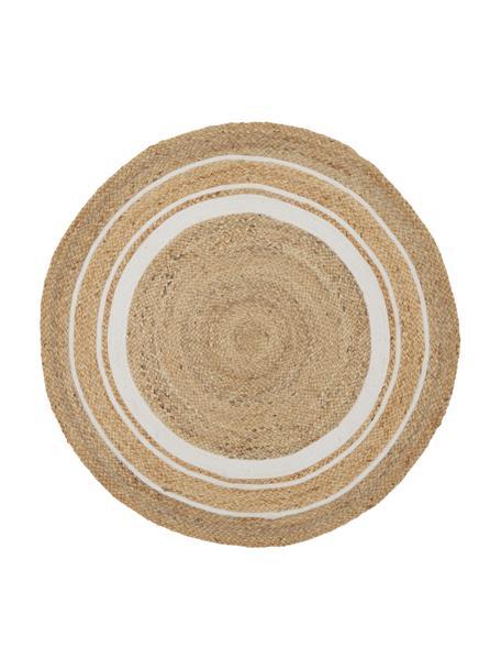 Rond juten vloerkleed. Clover, handgemaakt, 75% jute, 24% katoen, 1% polyester, Beige, wit, Ø 120 cm (maat S)