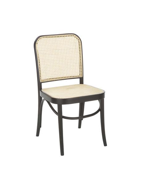 Krzesło z drewna z plecionką wiedeńską  Franz, Stelaż: lite drewno bukowe, Ciemne drewno, S 48 x W 89 cm
