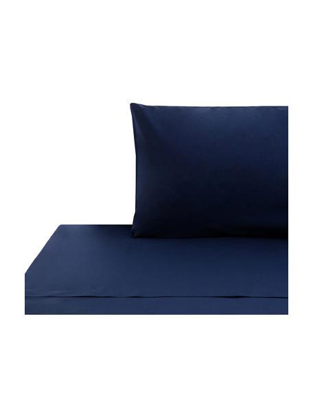 Set lenzuola blu scuro in cotone ranforce Lenare, Fronte e retro: blu scuro, 150 x 290 cm + 1 federa 50 x 80 cm