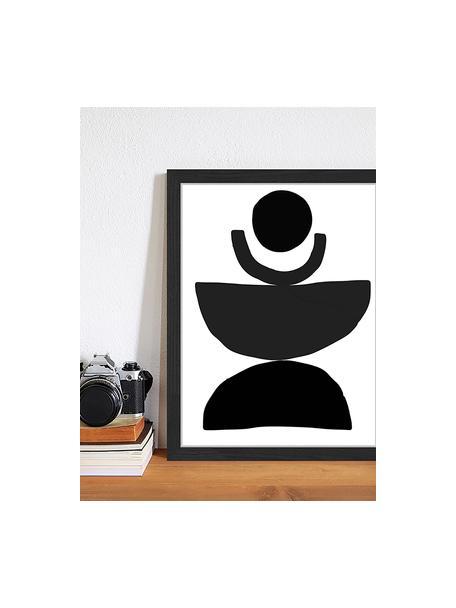 Ingelijste digitale print Geometric Collage, Afbeelding: digitale print op papier,, Lijst: gelakt hout, Zwart, wit, 33 x 43 cm