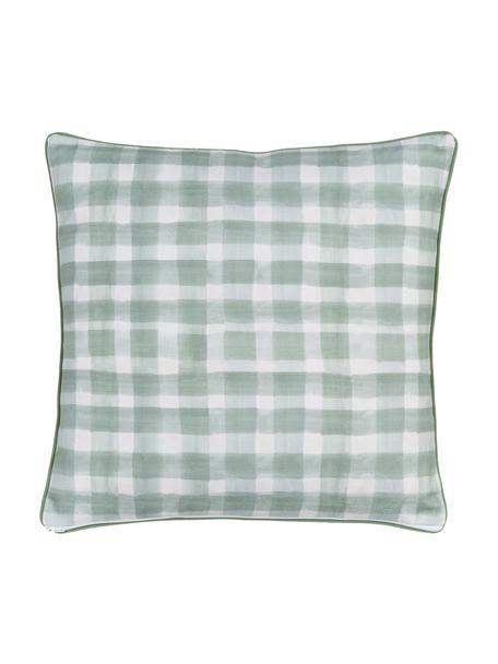 Funda de cojín doble cara Check, diseño Candice Grey, 100%algodón, certificado GOTS, Verde, An 50 x L 50 cm