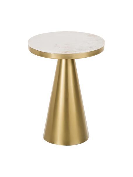 Mesa auxiliar de mármol Zelda, Tablero: mármol, Estructura: metal recubierto, Mármol blanco grisaceo, dorado, Ø 41 x Al 54 cm