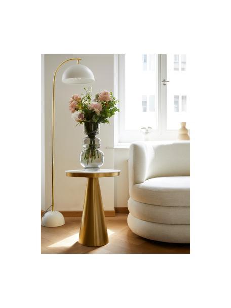 Runder Marmor-Beistelltisch Zelda, Tischplatte: Marmor, Gestell: Metall, beschichtet, Weiss-grauer Marmor, Goldfarben, Ø 41 x H  54 cm