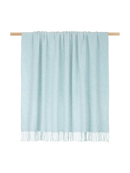 Lichte wollen plaid Patriciu met franjes, 100% wol, Groenblauw, 130 x 170 cm