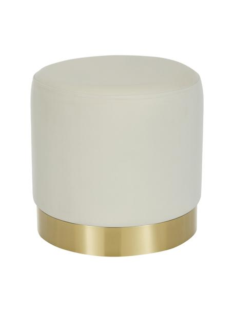 Puf de terciopelo Orchid, Tapizado: terciopelo (100%poliéste, Estructura: cartón, madera contrachap, Terciopelo blanco crema, dorado, Ø 38 x Al 38 cm