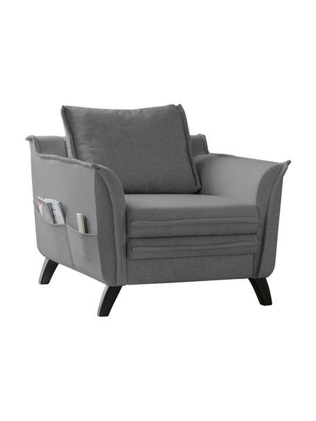 Fotel z imitacją lnu Charming Charlie, Tapicerka: 100% poliester, w dotyku , Stelaż: drewno naturalne, płyta w, Szary, S 85 x G 85 cm