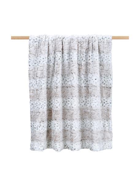 Zachte plaid Vilnius van imitatieleer, 100% polyester, Crèmekleurig, grijs, wit, 125 x 150 cm