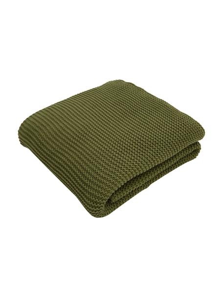 Coperta a maglia in cotone biologico verde Adalyn, 100% cotone biologico, certificato GOTS, Verde, Larg. 150 x Lung. 200 cm